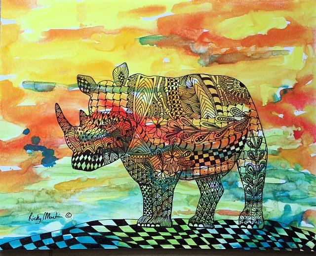 art zentangle inspired abstract rhino by artist ulrike ricky martin