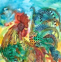 Art: Zentangle Inspired Rooster by Artist Ulrike 'Ricky' Martin