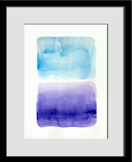 Art: Blue and purple, original minimal abstract painting, 12 x 16 by Artist victoria kloch