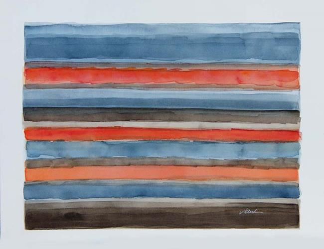 Art: Commissioned watercolor, gray, coral and browns by Artist victoria kloch