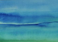 Art: ACEO blue and green - Sold by Artist victoria kloch
