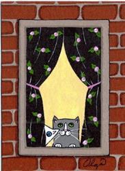 Art: apartment cat art card #1 by Artist S. Olga Linville