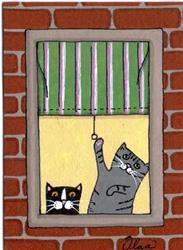 Art: apartment cats art card #2 by Artist S. Olga Linville