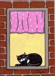 Art: apartment cats art card #3 by Artist S. Olga Linville