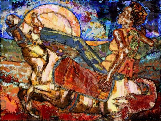 Art: She rides in Santa Fe by Artist Mary Ogle