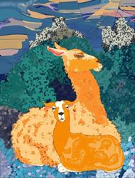 Art: Llamas by Artist Mary Ogle