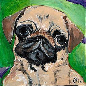 Art: Polka dot Pug Luv by Artist Noelle Hunt