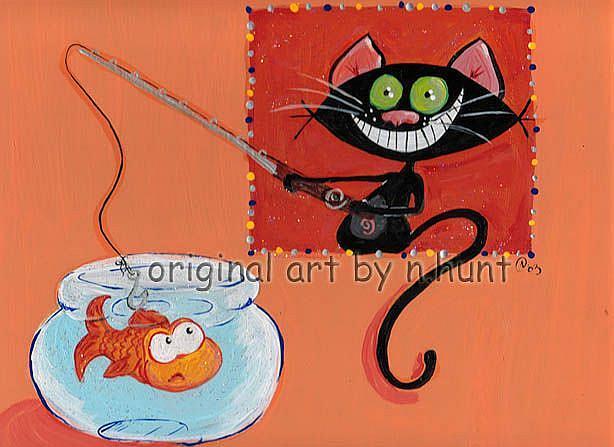 Art: Kitt Katt goes fishing by Artist Noelle Hunt