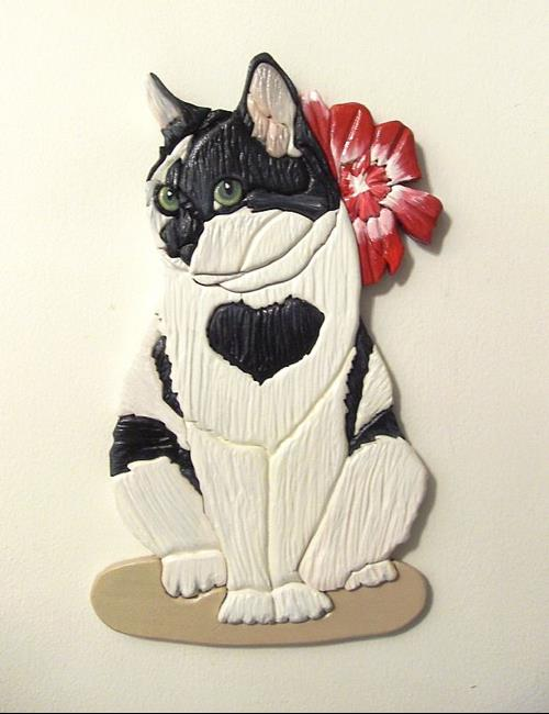 Art: Black and White Cat Sweetheart Original Painted Intarsia Art by Artist Gina Stern