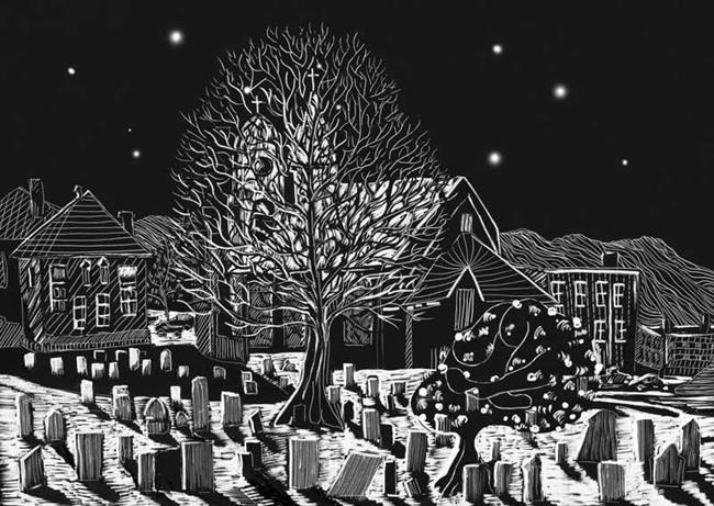 Art: Village Cemeterty by Artist Naquaiya