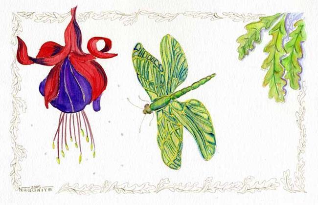 Art: Fuchia and Dragonfly by Artist Naquaiya