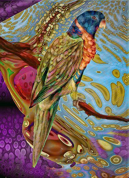 Art: Scarlet Parakeet by Artist Alma Lee