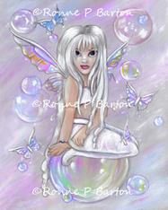 Art: Butterflies and Bubbles: White by Artist Ronne P Barton