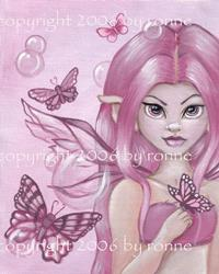Art: Butterflies and Bubbles: Peony by Artist Ronne P Barton