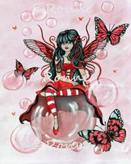 Art: Butterflies and Bubbles: Crimson by Artist Ronne P Barton