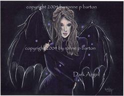 Art: Dark Angel in Color by Artist Ronne P Barton