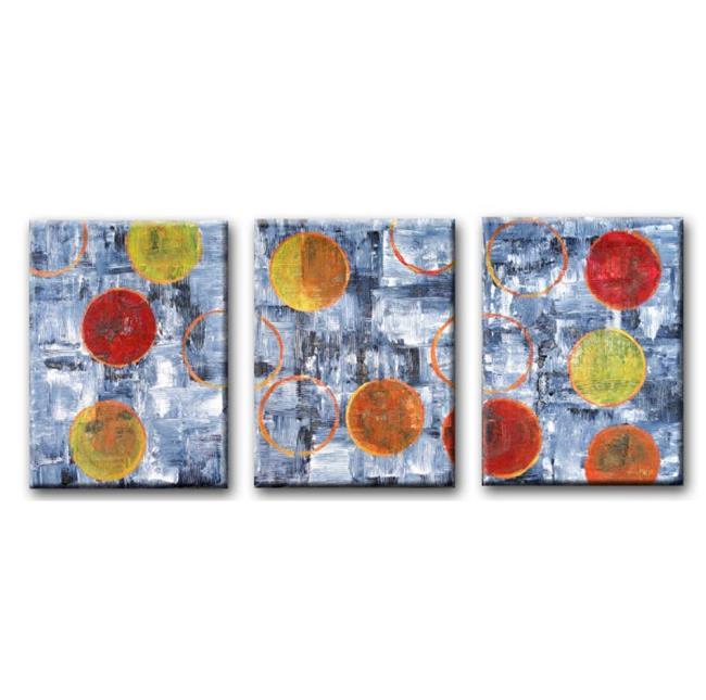 Art: Circular Logic (Textured Triptych)  by Artist Diane G. Casey