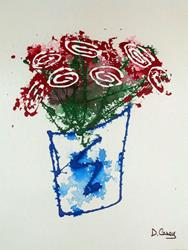 Art: Bucket-O-Roses (drip style) by Artist Diane G. Casey