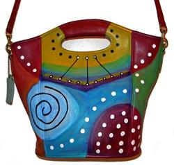 Art: Funky Abstract Coach Leather Bag by Artist Diane G. Casey