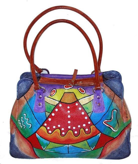 Art: Funkier Than Thou (Leather Satchel Handbag) by Artist Diane G. Casey