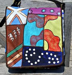 Art: Happy Patterns (leather handbag purse) by Artist Diane G. Casey