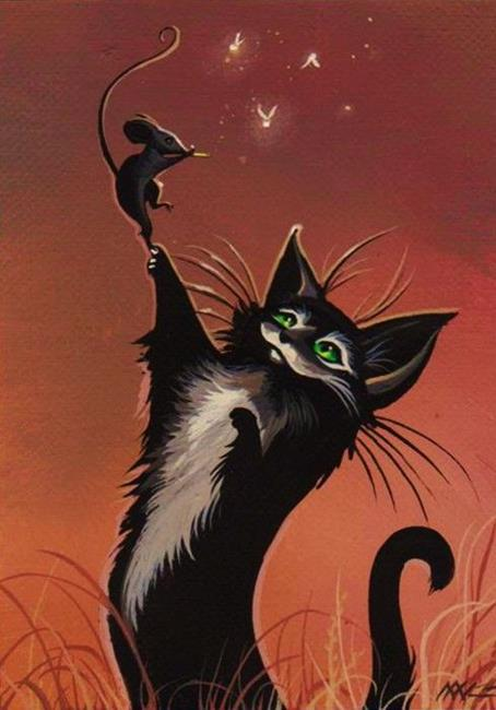 Art: Cat and Mouse Play by Artist Nico Niemi
