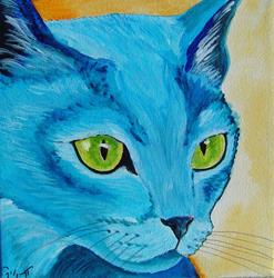 Art: Blue Kitten by Artist Padgett Mason
