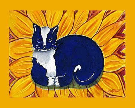 Art: Tuxedo Sunflower Cat by Artist Naquaiya
