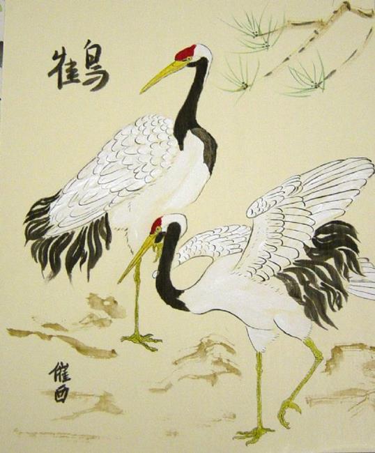 Art: 2 Cranes by Artist Tracey Allyn Greene