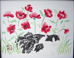 Art: Black and White and Red Poppies  by Artist Tracey Allyn Greene
