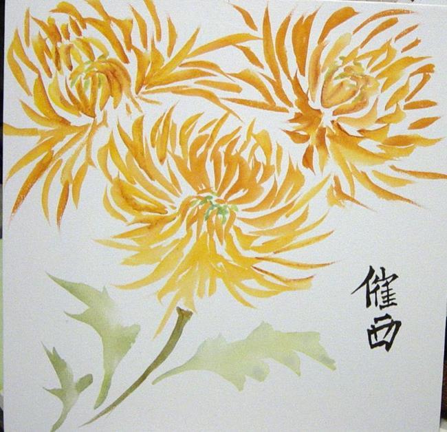 Art: Chinese Golden Mums by Artist Tracey Allyn Greene