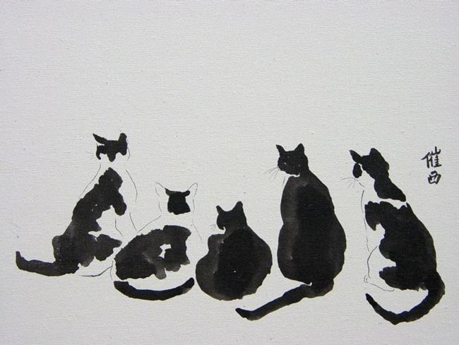 Art: Black and White Cat Watch by Artist Tracey Allyn Greene