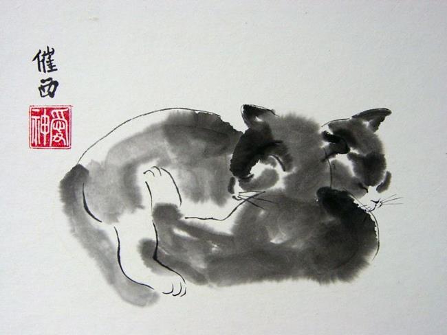 Art: Two Sleepy Kittens by Artist Tracey Allyn Greene