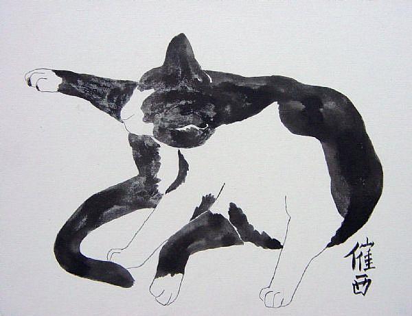 Art: Black White Grooming by Artist Tracey Allyn Greene