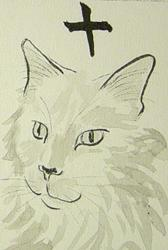 Art: Feline Mahjong Rip by Artist Tracey Allyn Greene