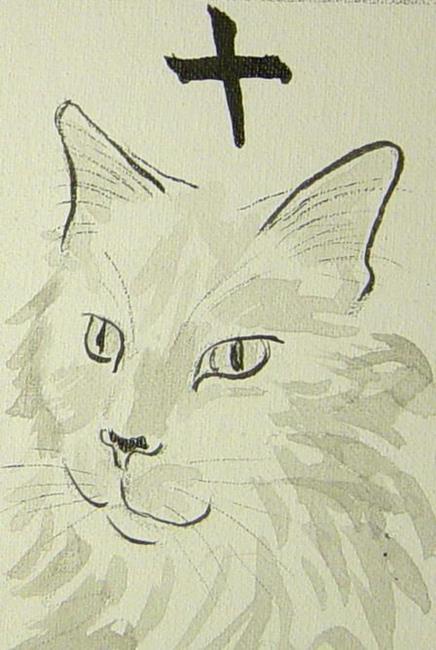Art: Feline Mahjong Rip by Artist Tracey Allyn Greene