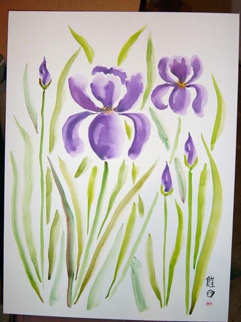 Art: Purple Irises by Artist Tracey Allyn Greene