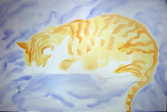 Art: Orange Catnap by Artist Tracey Allyn Greene
