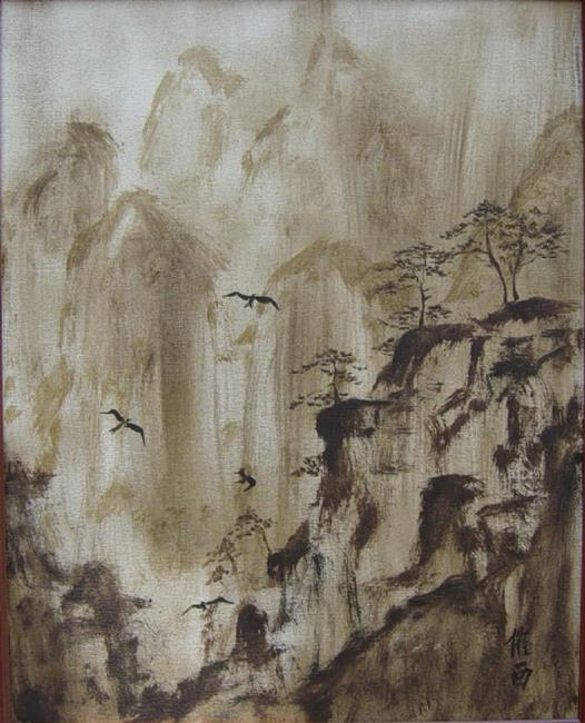 Art: Mountains and Birds by Artist Tracey Allyn Greene