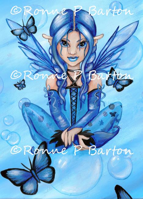 Art: Butterflies and Bubbles: Blue by Artist Ronne P Barton