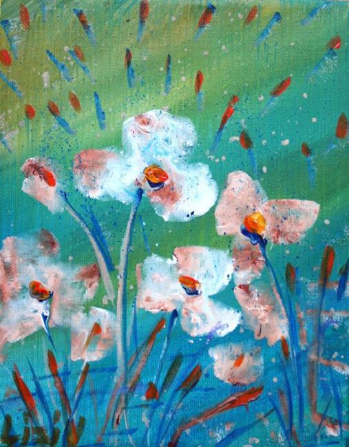 Art: WHITE FLOWERS in RAIN by Artist LUIZA VIZOLI