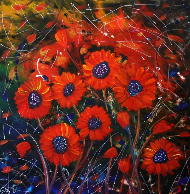 Art: RED FLOWERS in the night by Artist LUIZA VIZOLI