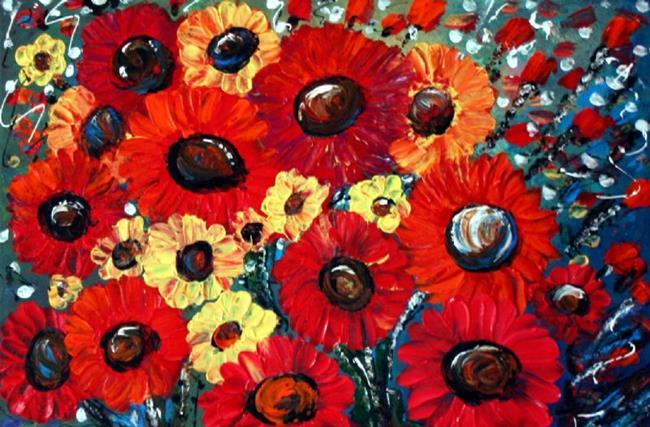 Art: FRESH RED FLOWERS by Artist LUIZA VIZOLI