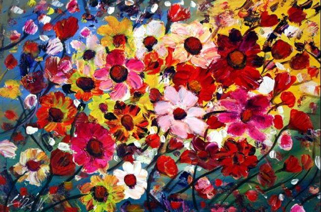 Art: HAPPY FLOWERS- 36X24 by Artist LUIZA VIZOLI