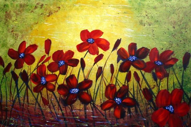 Art: RED WILD FLOWERS by Artist LUIZA VIZOLI