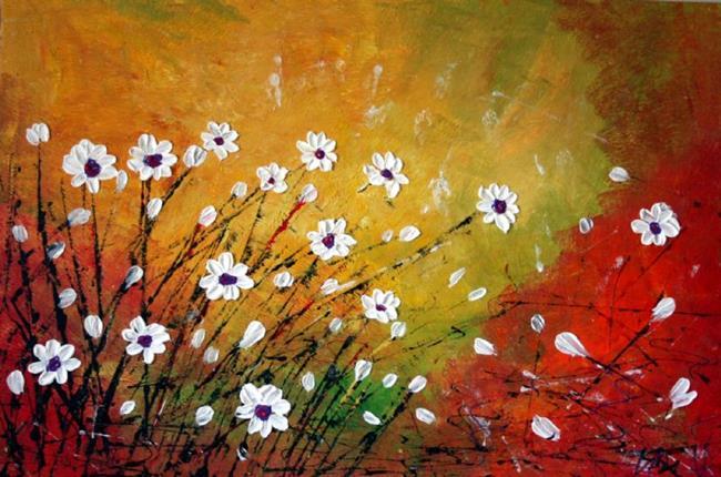 Art: WILDFLOWERS FIELD Impasto Oil by Artist LUIZA VIZOLI