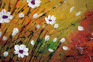 Detail Image for art WILDFLOWERS FIELD Impasto Oil