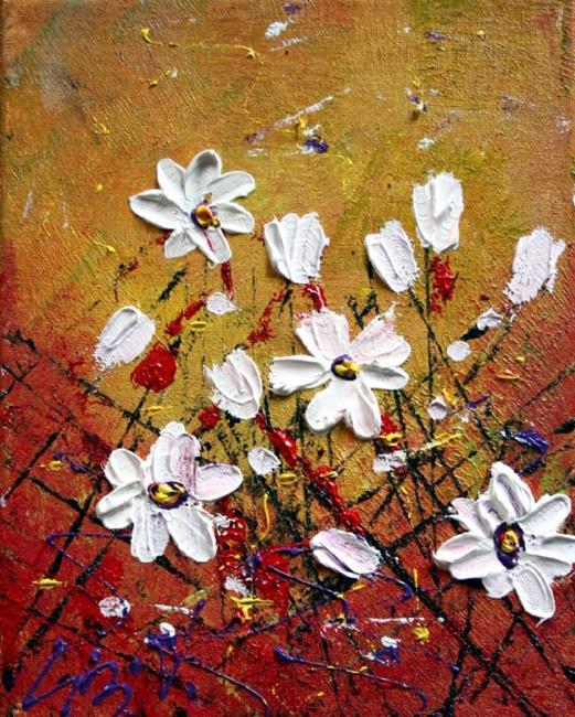 Art: WHITE FLOWERS Impasto Oil Textured by Artist LUIZA VIZOLI