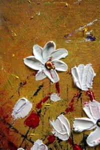 Detail Image for art WHITE FLOWERS Impasto Oil Textured