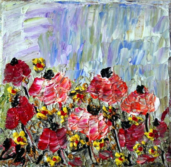 Art: FLOWERS Impasto Palette Knife Textured Oil  by Artist LUIZA VIZOLI